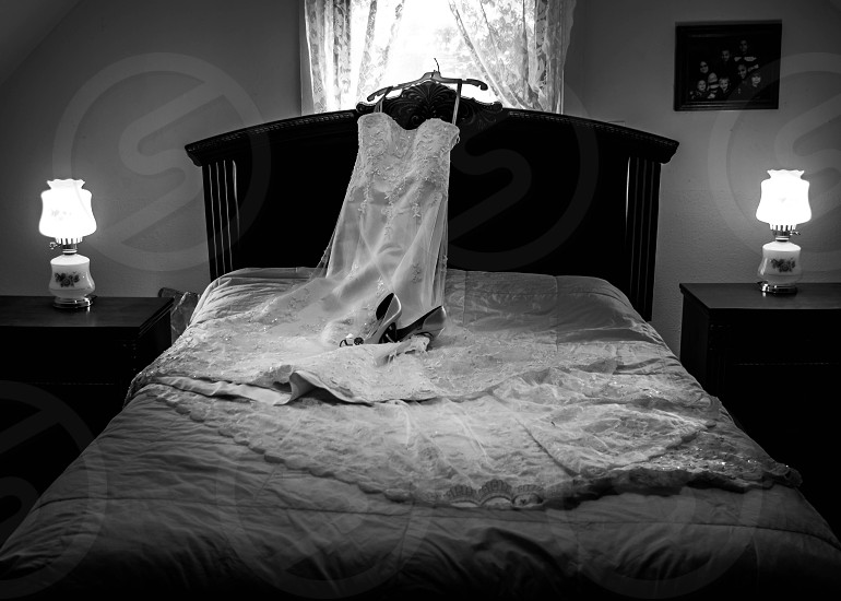 Wedding dress and shoes photo