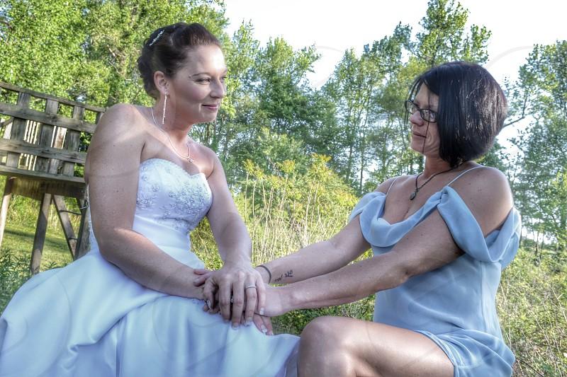 womens satin strapless wedding dress photo