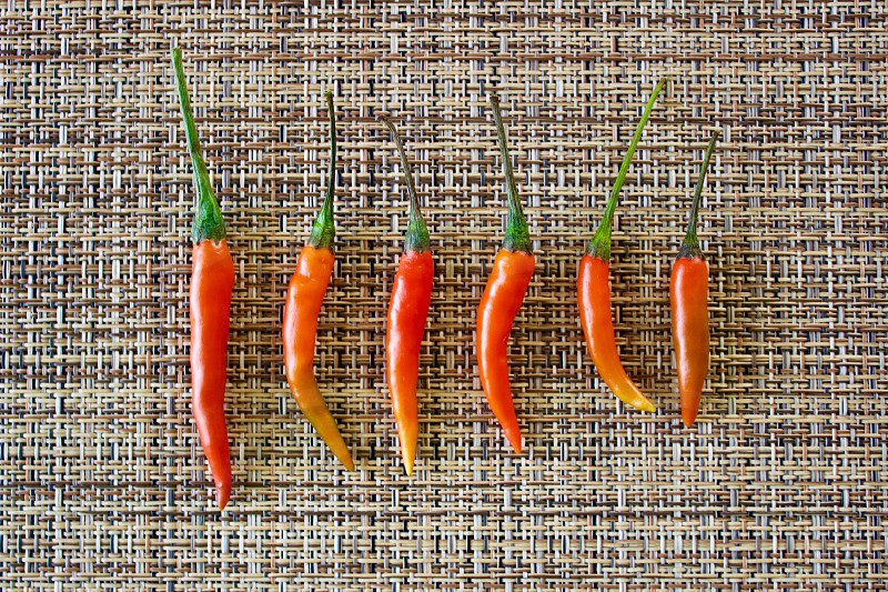 Flat lay minimalistic shot of Thai Bird's Eye / Thai Bird Chili peppers arranged by size on a woven neutral background photo