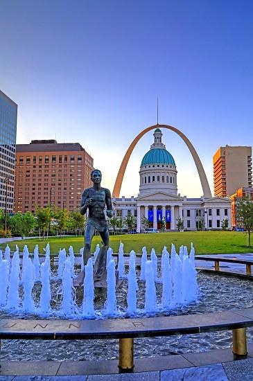 Kiener Plaza and the Gateway Arch in St. Louis Missouri. photo