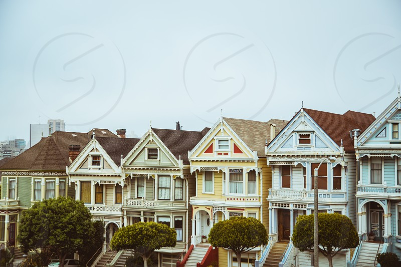 Painted Ladies San Francisco Alamo Square Fog Houses roofs rooftops steps trees vintage photo