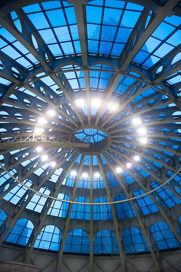 shopping mall glass dome ceiling  interior view photo