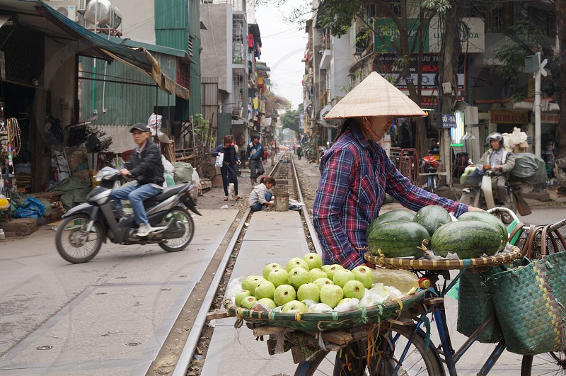 green watermelon fruit on round basket photo