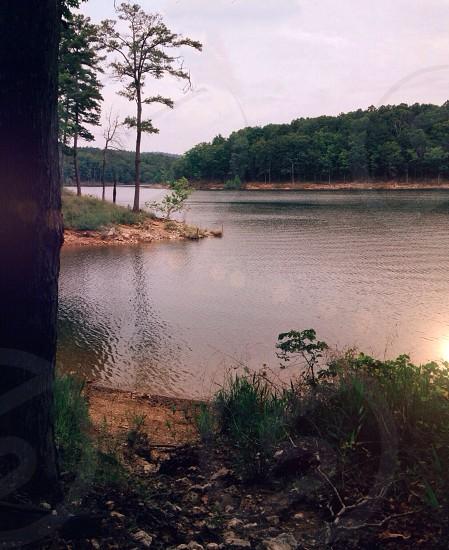 lake with mountain view photo