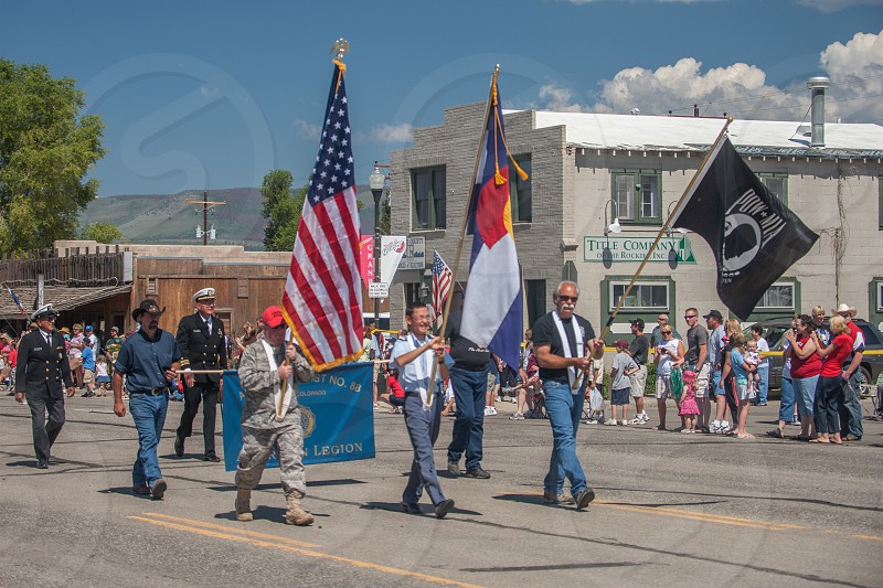 U.S. flags during 4th of July parade in Grandby Colorado photo