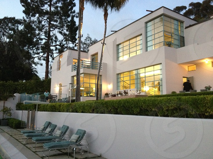 view of white painted modern house photo