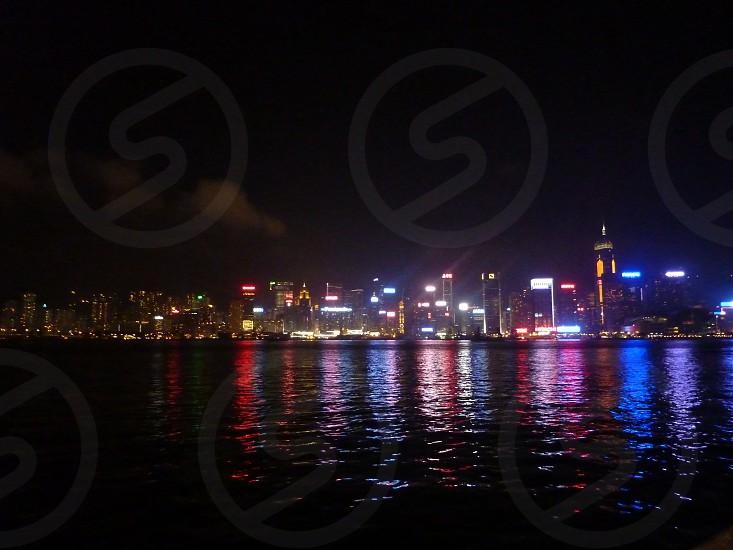 Hong Kong bay reflections photo