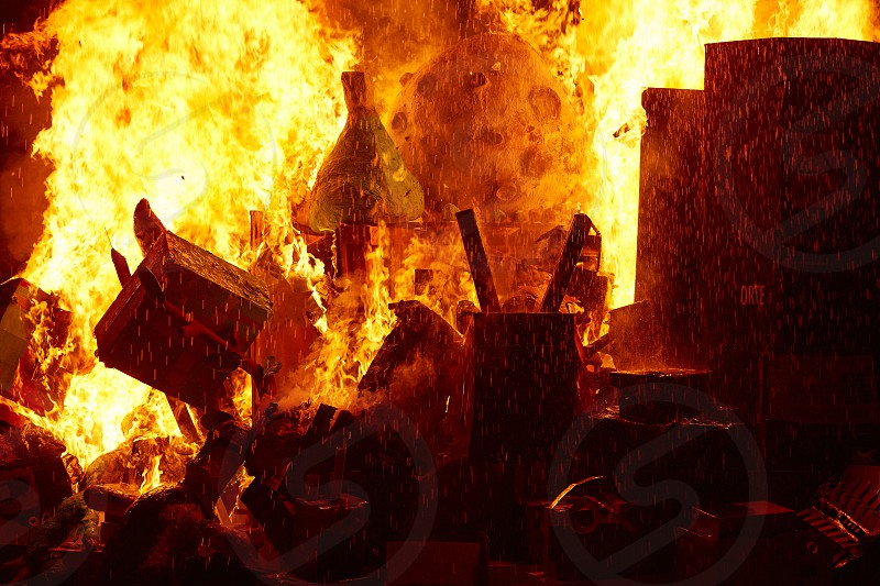 Fallas popular fest burning cartoon paper mache figures on March 19 th yearly photo