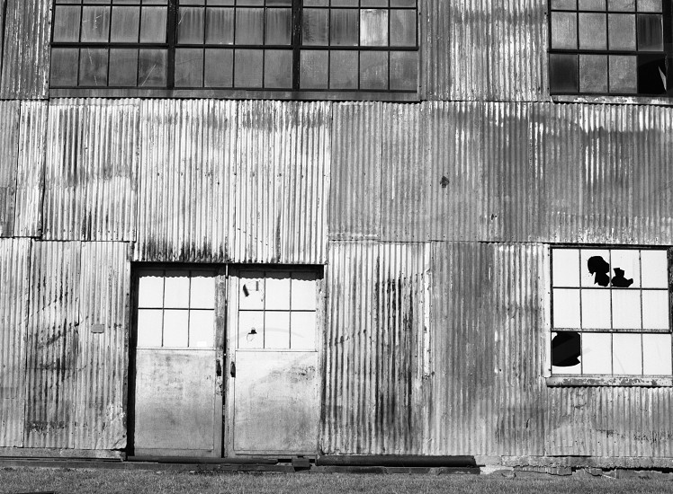 industrial building steel deteriorate windows broken old artsy photo