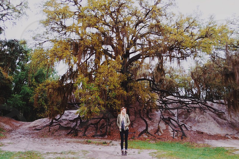woman standing under the tree photo