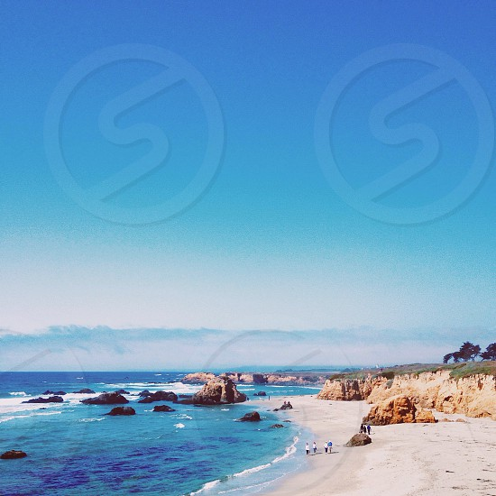 blue ocean water and blue sky photo