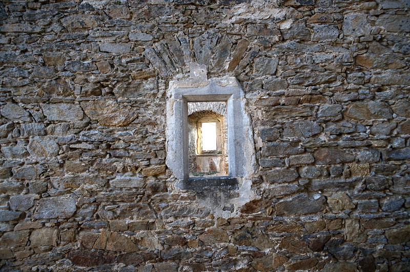 stone wall window ruin photo