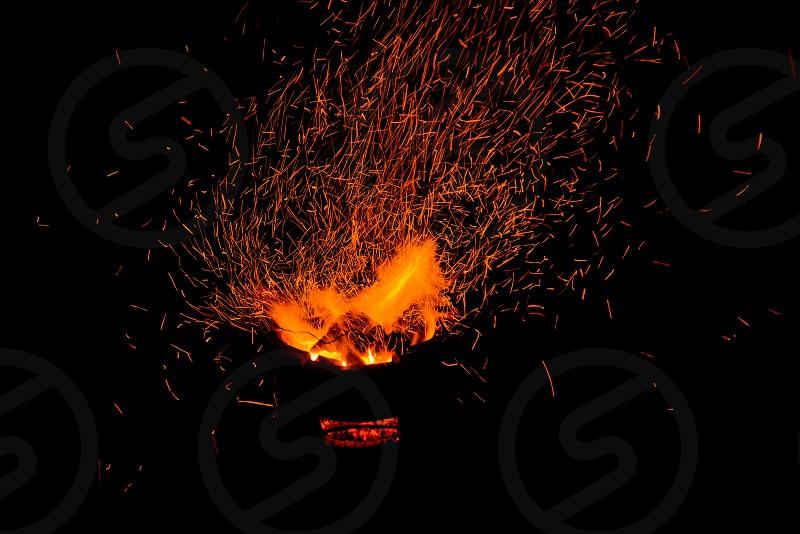 Sparks of bonfire photo