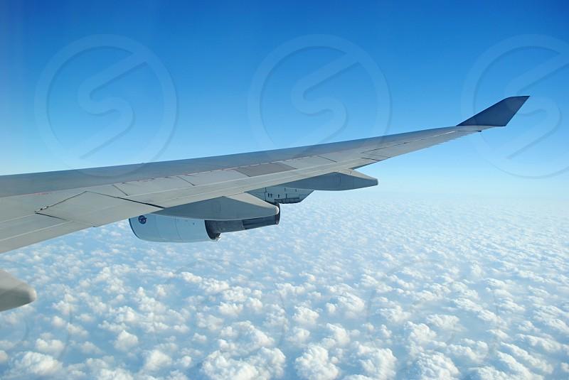 Flying plane travel adventure transport. photo