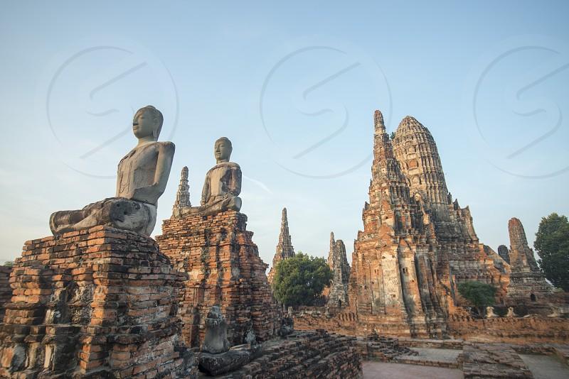 the Wat chai wattanaram in the city of Ayutthaya north of bangkok in Thailand in southeastasia. photo