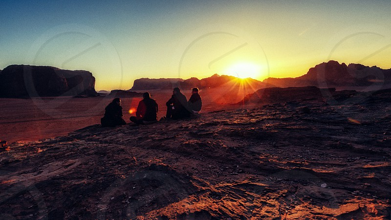 Relaxation. People wild desert golden times  photo
