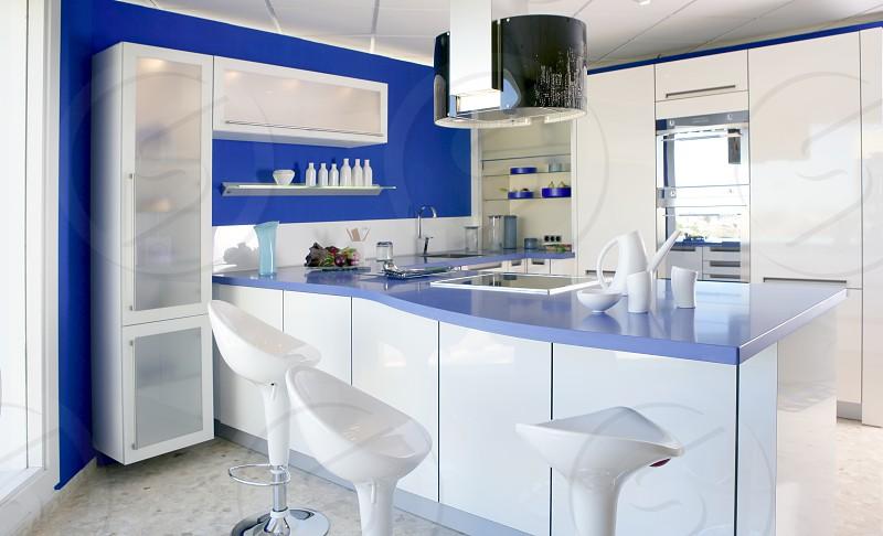 Blue white kitchen modern interior design house architecture photo