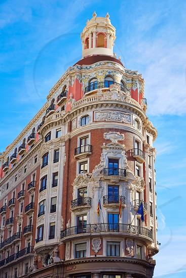 Banco de Valencia historical building in Pintor Sorolla street at Spain photo