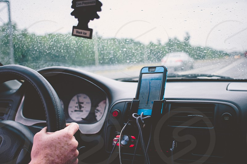 vehicle interior with cell phone holder photo
