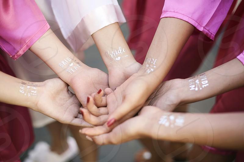 tattoo bridesmaids bride wedding wedding day getting ready pink team photo