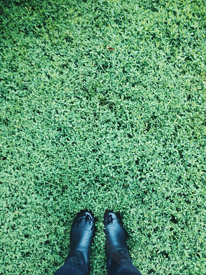 person wearing black boots standing on grass field photo