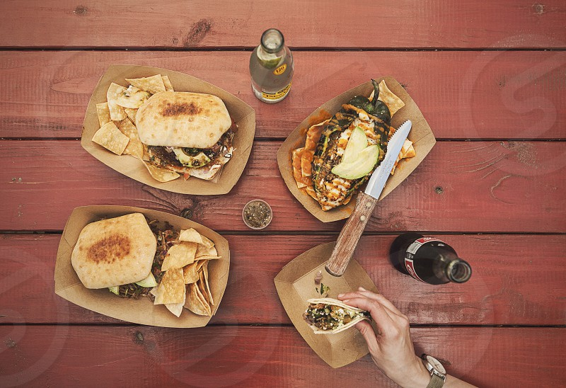 tacos lay flat layflat topdown knife mexican food lunch table tabletop flatlay flat lay flat lay chips sandwich sandwiches taco red hand meeting texas tex-mex photo