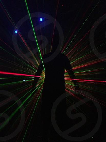 Playing with laser lights in a garage  photo