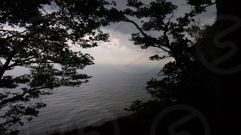 Magnificent view over the sea from the top of Møns Klint Denmark Europe. Nature view point ocean framed photo