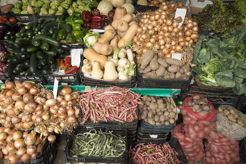 fegetable at the Market Mercado do Bolhao in the city centre of Porto in Porugal in Europe. photo