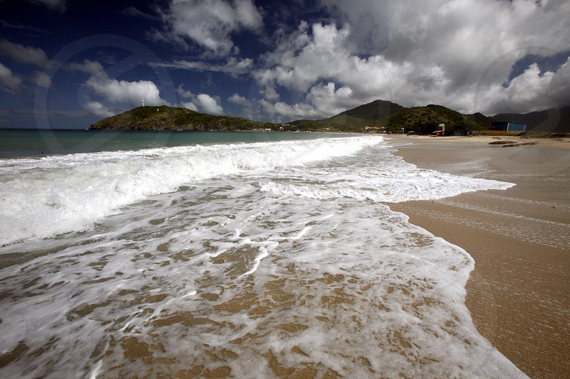 the beach Playa Pedro Gonzalez in the town of Pedro Gonzalaz on the Isla Margarita in the caribbean sea of Venezuela. photo