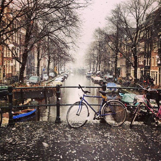 Winter canals in Amsterdam photo