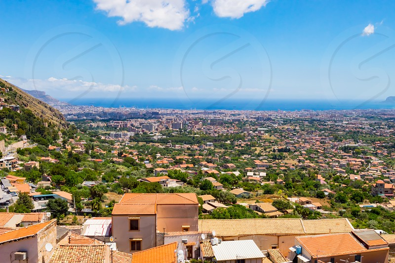 Elevated view of the city of Palermo in North West Sicily photo