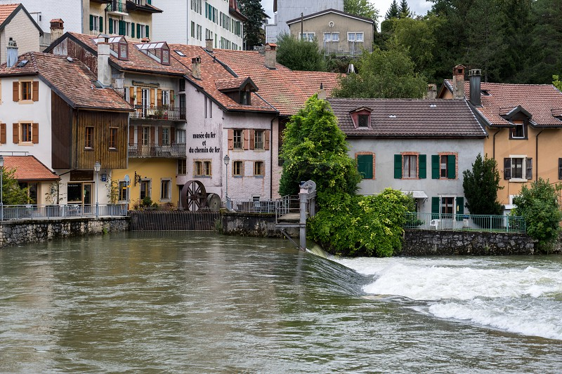 Orbe River flowing through Vallorbe in the district Grandes Forges of Switzerland photo