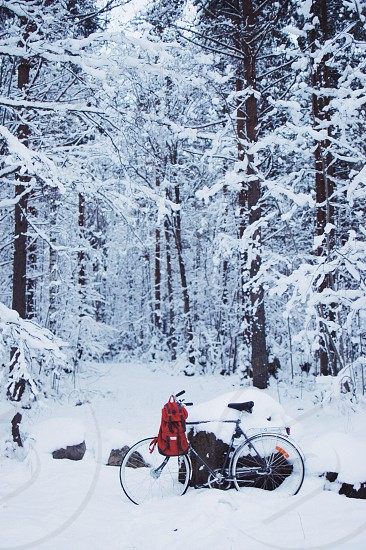 red backpack hanged on bicycle on snowy forest photo