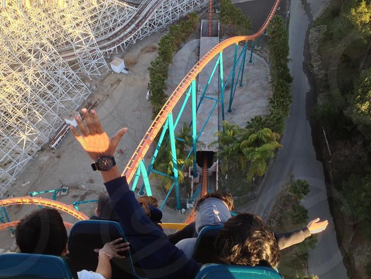 blue orange roller coaster  photo