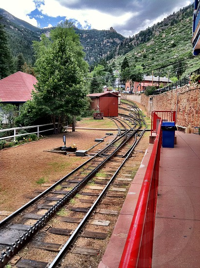 Going up the mountain on the Pikes Peak Cog Railway photo
