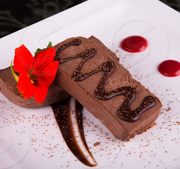 ice cream dessert food chocolate gourmet syrup flower  photo