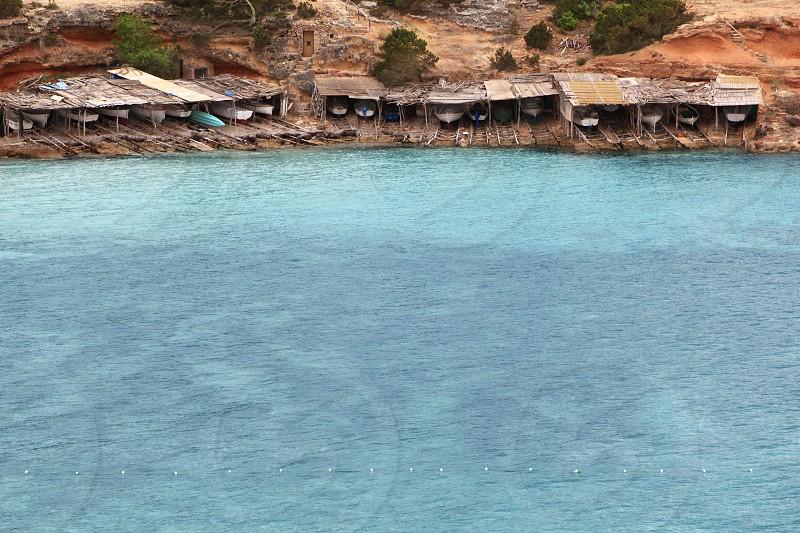 Cala Saona Formentera beach Balearic islands wooden boats photo