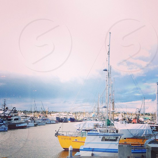 yellow and blue powerboat on body of water surrounded of boats photo