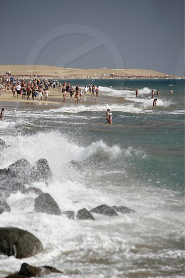 the Beach at the Playa des Ingles in town of Maspalomas on the Canary Island of Spain in the Atlantic ocean. photo