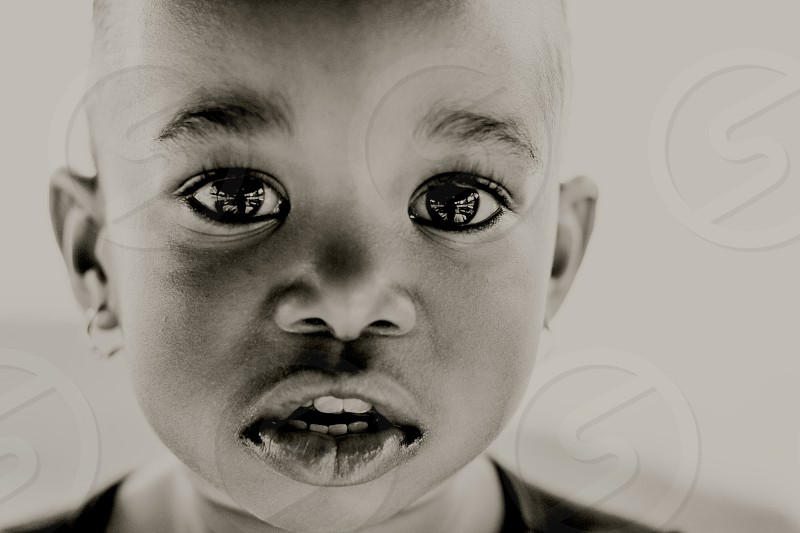 little girl big eyes portrait photo