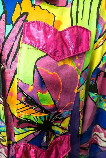 Ladies colourful shirt art display in the Millennium Centre in cardiff photo