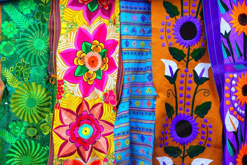colorful Mexican serape fabric handcraft photo