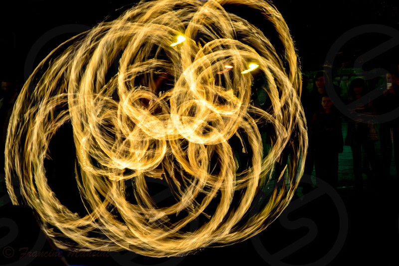 Fire yellow circles night bright photo