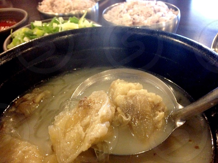 Traditional Korean Beef Soup Seattle. Sullentang- beef bone soup slowly simmered for 20hrs.  photo