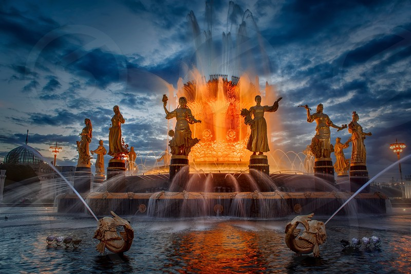 VDNKh fountain Friendship of nations  photo