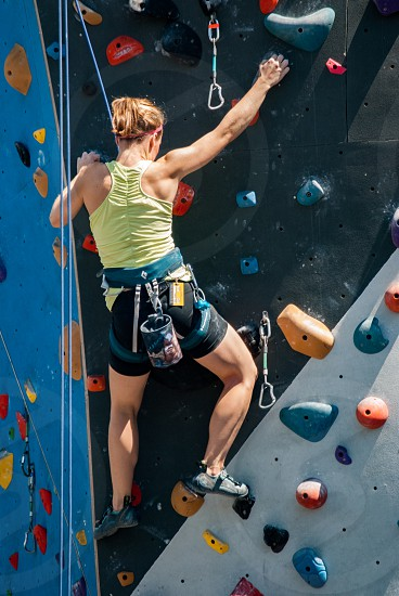 Climbing rock sport athlete woman climber summer photo