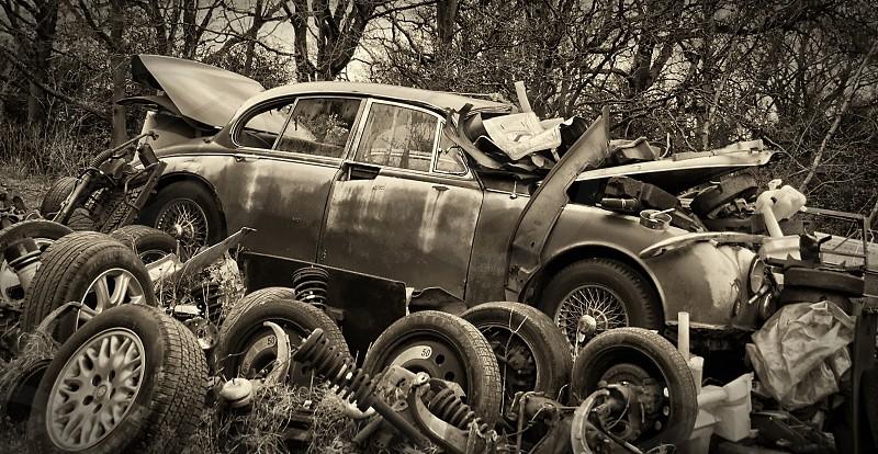 Old Jaguar on the scrap heap... photo