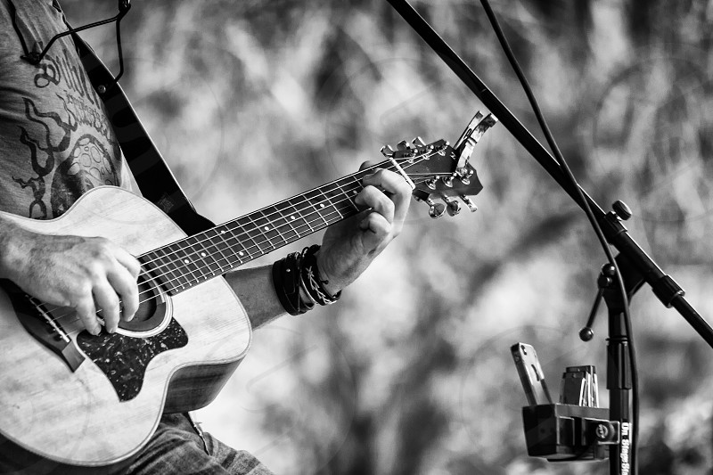 Guitar musician black and white rock rockstar jamming gig performance acoustic photo