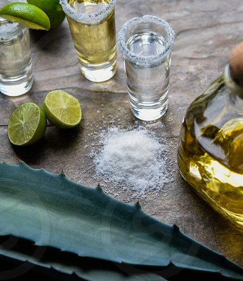 clear shot glass with liquor beside green sliced lime and iodized salt photo